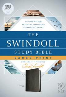 The Swindoll Study Bible NLT, Large Print: LeatherLike, Black