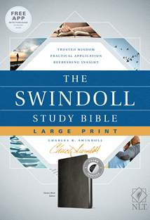 The Swindoll Study Bible NLT, Large Print: LeatherLike, Indexed, Black