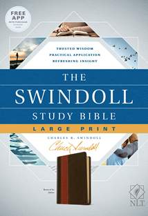 The Swindoll Study Bible NLT, Large Print: LeatherLike, Brown/Tan