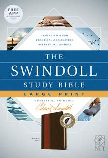 The Swindoll Study Bible NLT, Large Print: LeatherLike, Indexed, Brown/Tan