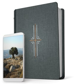 The Filament Bible is pictured with a mobile phone, demonstrating that Filament can be used with a helpful app that expands upon God's Word and helps to put context to Scripture.