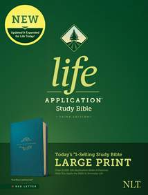 NLT Life Application Study Bible, Third Edition, Large Print: LeatherLike, Teal Blue, Red Letter