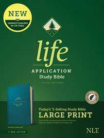 NLT Life Application Study Bible, Third Edition, Large Print: LeatherLike, Indexed, Teal Blue, Red Letter