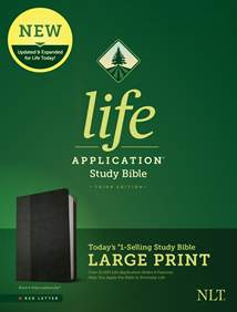 NLT Life Application Study Bible, Third Edition, Large Print: LeatherLike, Black/Onyx, Red Letter