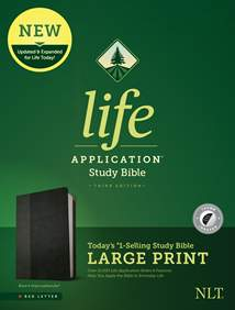 NLT Life Application Study Bible, Third Edition, Large Print: LeatherLike, Indexed, Black/Onyx, Red Letter