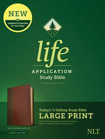 NLT Life Application Study Bible, Third Edition, Large Print: LeatherLike, Brown/Mahogany, Red Letter