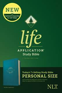 NLT Life Application Study Bible, Third Edition, Personal Size: LeatherLike, Teal Blue