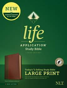 NLT Life Application Study Bible, Third Edition, Large Print: LeatherLike, Indexed, Brown/Mahogany, Red Letter