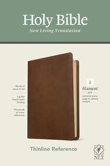 NLT Thinline Reference Bible, Filament Enabled Edition: LeatherLike, Rustic Brown, Red Letter