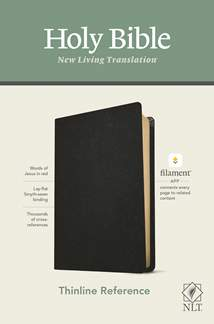 NLT Thinline Reference Bible, Filament Enabled Edition: Genuine Leather, Black, Red Letter