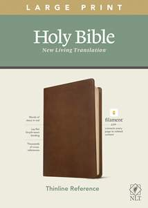 NLT Large Print Thinline Reference Bible, Filament Enabled Edition: LeatherLike, Rustic Brown, Red Letter