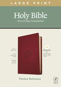 NLT Large Print Thinline Reference Bible, Filament Enabled Edition: LeatherLike, Aurora Cranberry, Red Letter