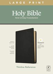 NLT Large Print Thinline Reference Bible, Filament Enabled Edition: Genuine Leather, Black, Red Letter