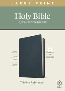 NLT Large Print Thinline Reference Bible, Filament Enabled Edition: Genuine Leather, Navy Blue, Red Letter