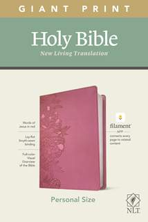 NLT Personal Size Giant Print Bible, Filament Enabled Edition: LeatherLike, Peony Pink, Red Letter