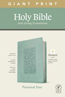 NLT Personal Size Giant Print Bible, Filament Enabled Edition: LeatherLike, Floral Frame Teal, Red Letter
