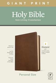 NLT Personal Size Giant Print Bible, Filament Enabled Edition: LeatherLike, Rustic Brown, Red Letter