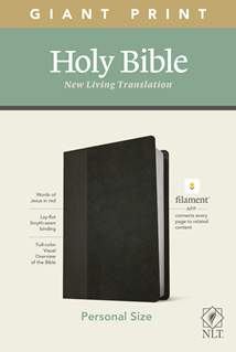 NLT Personal Size Giant Print Bible, Filament Enabled Edition: LeatherLike, Black/Onyx, Red Letter