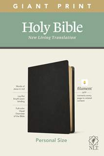 NLT Personal Size Giant Print Bible, Filament Enabled Edition: Genuine Leather, Black, Red Letter