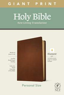 NLT Personal Size Giant Print Bible, Filament Enabled Edition: Genuine Leather, Brown, Red Letter