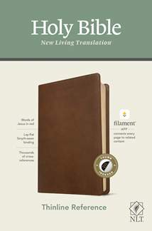 NLT Thinline Reference Bible, Filament Enabled Edition: LeatherLike, Indexed, Rustic Brown, Red Letter