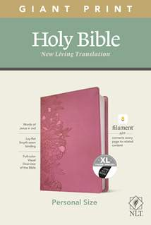 NLT Personal Size Giant Print Bible, Filament Enabled Edition: LeatherLike, Indexed, Peony Pink, Red Letter