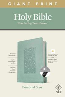 NLT Personal Size Giant Print Bible, Filament Enabled Edition: LeatherLike, Indexed, Floral Frame Teal, Red Letter