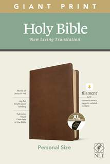 NLT Personal Size Giant Print Bible, Filament Enabled Edition: LeatherLike, Indexed, Rustic Brown, Red Letter