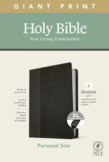 NLT Personal Size Giant Print Bible, Filament Enabled Edition: LeatherLike, Indexed, Black/Onyx, Red Letter