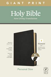 NLT Personal Size Giant Print Bible, Filament Enabled Edition: Genuine Leather, Indexed, Black, Red Letter