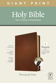 NLT Personal Size Giant Print Bible, Filament Enabled Edition: Genuine Leather, Indexed, Brown, Red Letter