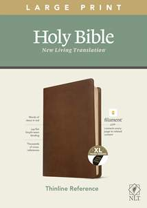 NLT Large Print Thinline Reference Bible, Filament Enabled Edition: LeatherLike, Indexed, Rustic Brown, Red Letter