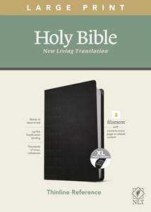 NLT Large Print Thinline Reference Bible, Filament Enabled Edition: LeatherLike, Indexed, Cross Grip Black, Red Letter