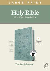 NLT Large Print Thinline Reference Bible, Filament Enabled Edition: LeatherLike, Indexed, Floral Leaf Teal, Red Letter