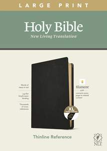 NLT Large Print Thinline Reference Bible, Filament Enabled Edition: Genuine Leather, Indexed, Black, Red Letter