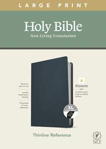 NLT Large Print Thinline Reference Bible, Filament Enabled Edition: Genuine Leather, Indexed, Navy Blue, Red Letter