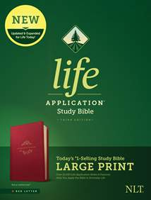 NLT Life Application Study Bible, Third Edition, Large Print: LeatherLike, Berry, Red Letter