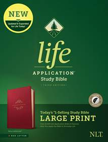 NLT Life Application Study Bible, Third Edition, Large Print: LeatherLike, Indexed, Berry, Red Letter