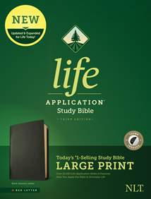 NLT Life Application Study Bible, Third Edition, Large Print: Genuine Leather, Indexed, Black, Red Letter