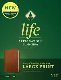 NLT Life Application Study Bible, Third Edition, Large Print: Genuine Leather, Brown, Red Letter
