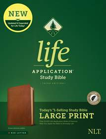 NLT Life Application Study Bible, Third Edition, Large Print: Genuine Leather, Indexed, Brown, Red Letter