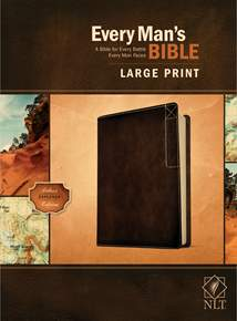 Every Man's Bible NLT, Large Print: LeatherLike, Rustic Brown
