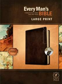 Every Man's Bible NLT, Large Print: LeatherLike, Indexed, Rustic Brown