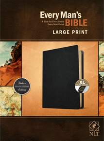 Every Man's Bible NLT, Large Print: Genuine Leather, Indexed, Black