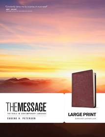 The Message Large Print: Leather-Look, Burgundy