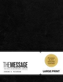 The Message Large Print: Genuine Leather, Black