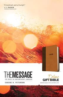 The Message Deluxe Gift Bible: Leather-Look, Brown/Saddle Tan