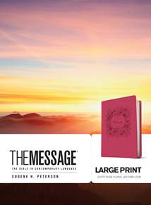 The Message Large Print: Leather-Look, Dusty Rose Floral