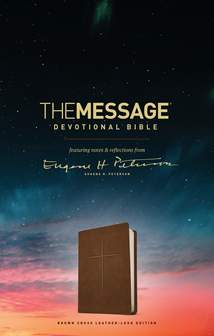 The Message Devotional Bible: Leather-Look/Brown Brown Cross