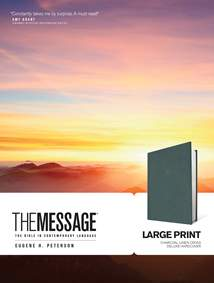 The Message Large Print: Hardcover Deluxe, Charcoal Linen Cross